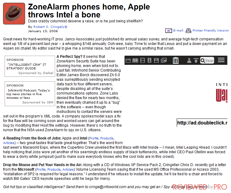 ZoneAlarm phones for home users, Apple throws Intel a nice bone snapshot