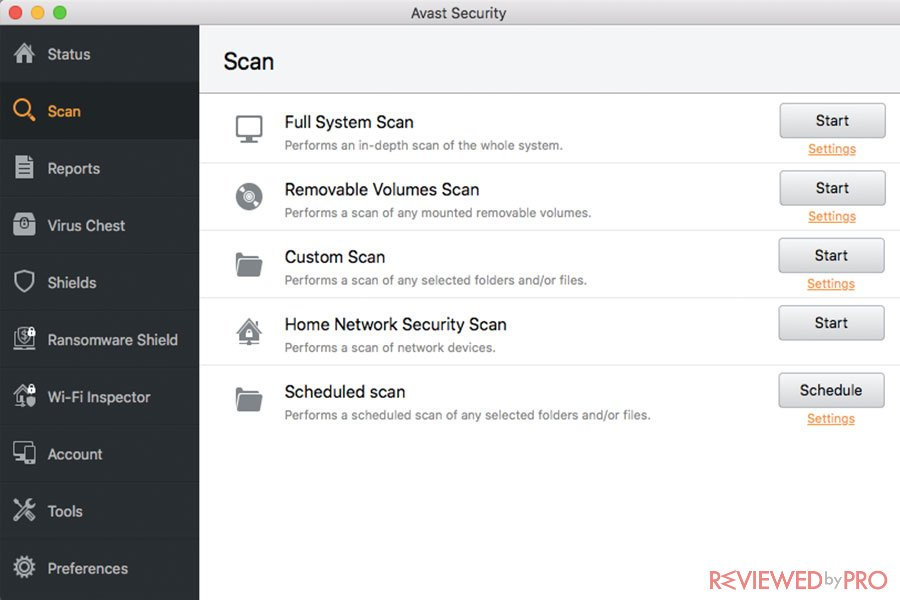 avast free security for mac scans