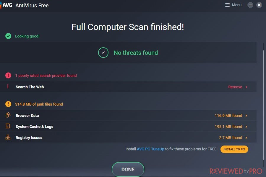 AVG Scan is finished
