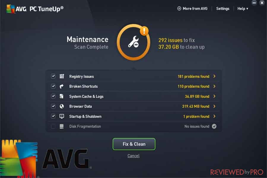 AVG TuneUp window