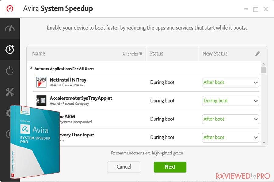 Avira system speedup boot