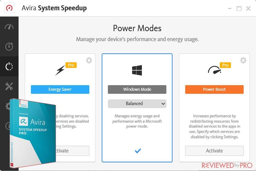 Avira System speedup power modes