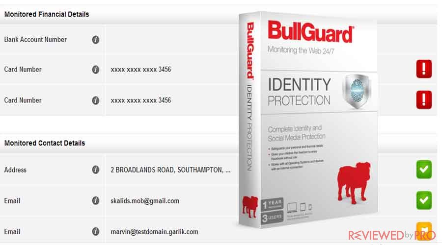 BullGuard Identity Protection Personal details