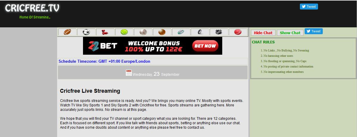 Free Online Sport streaming platform - cricfree.tv