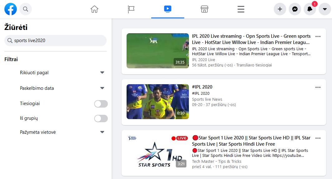 Free Online Sport streaming platform - Facebook