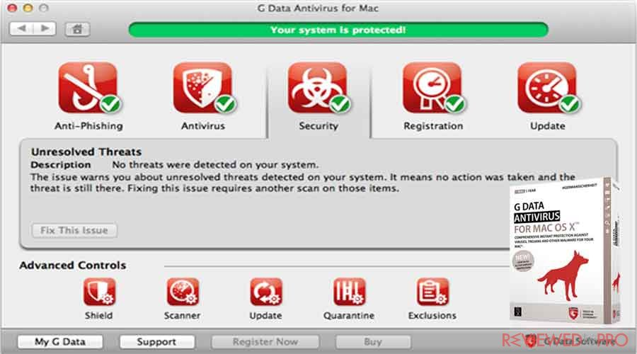 G DATA for Mac protected