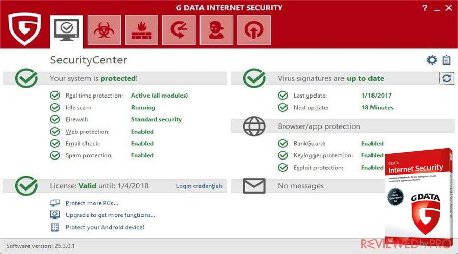 G DATA Internet Security Features