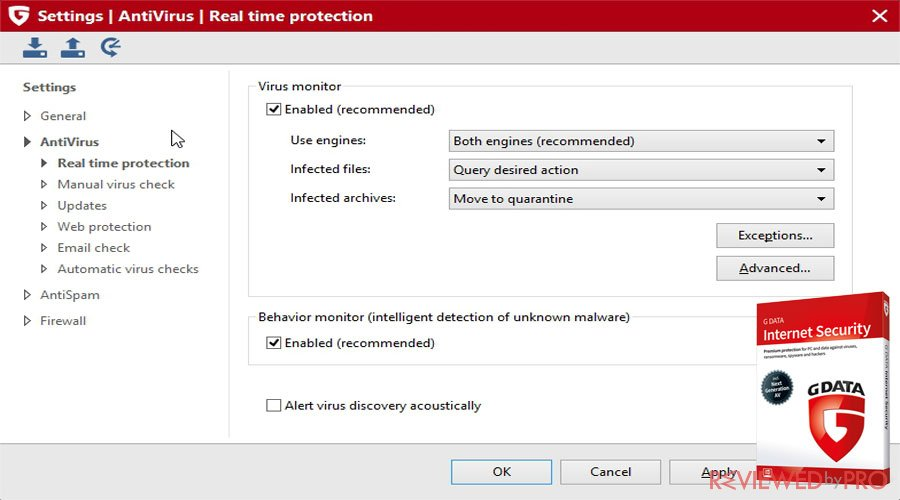 G DATA Internet Security real time