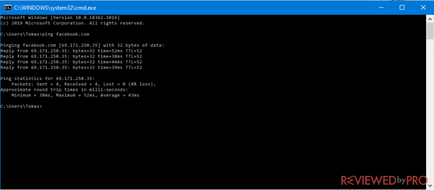 Find any websites IP with command prompt