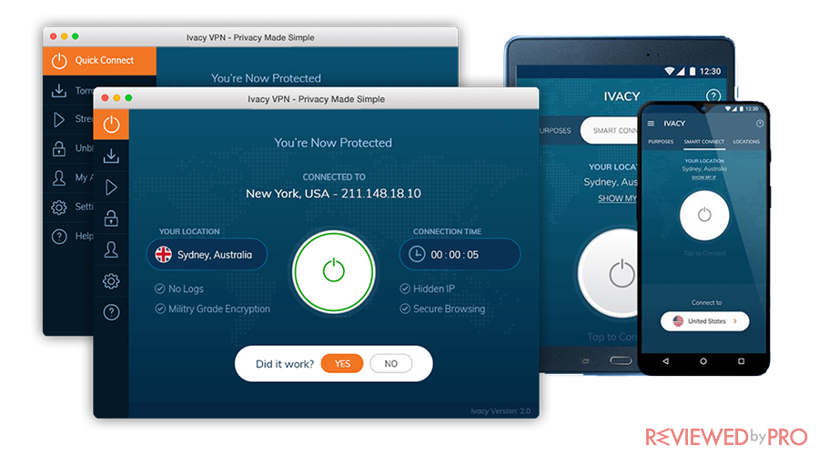 ivacyvpn user interface
