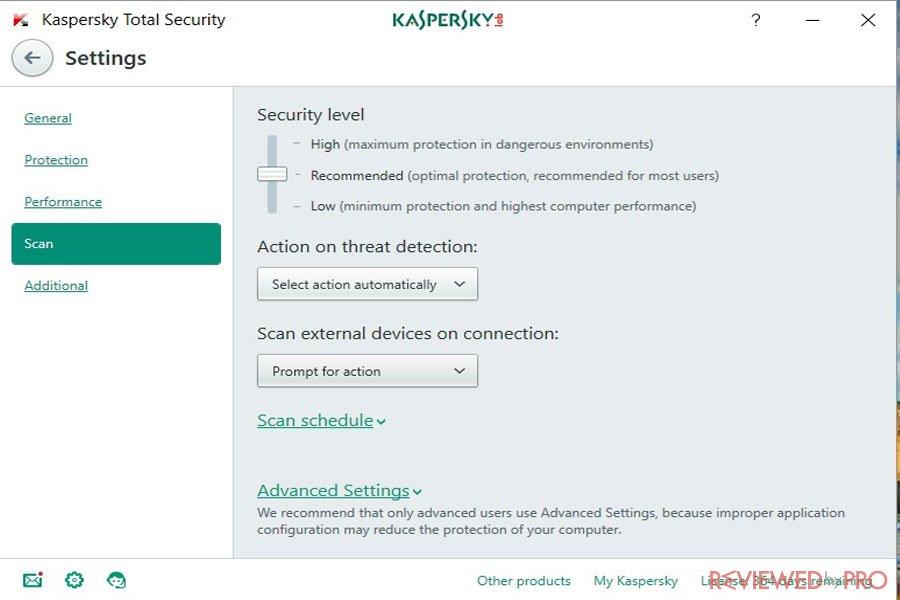 Kaspersky Internet security settings