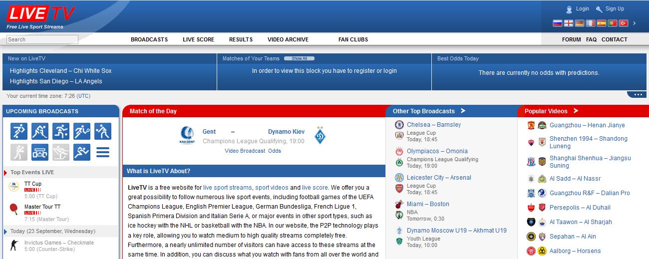 Free Online Sport streaming platform - LiveTV