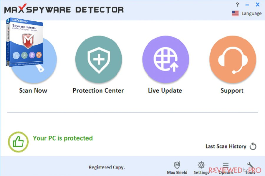 max secure spyware detector features