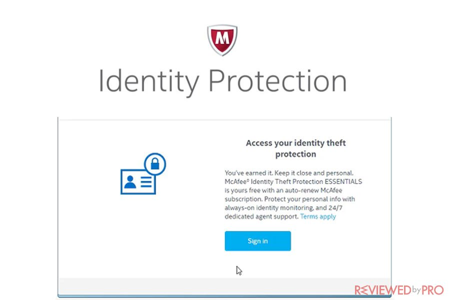 McAfee Access your ID protection