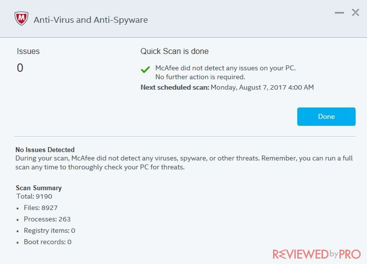 McAfee LiveSafe quick scan is done