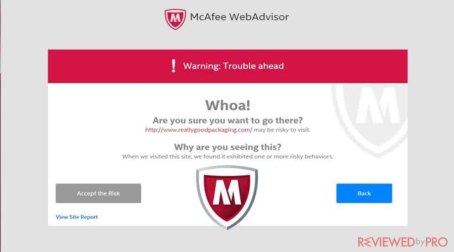 McAfee Risky Website