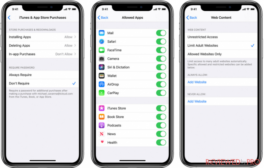 Setting up parental controls on iOS devices