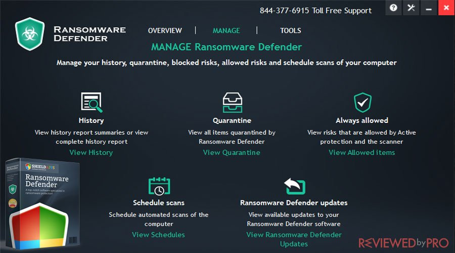 Shield ransomware defender features