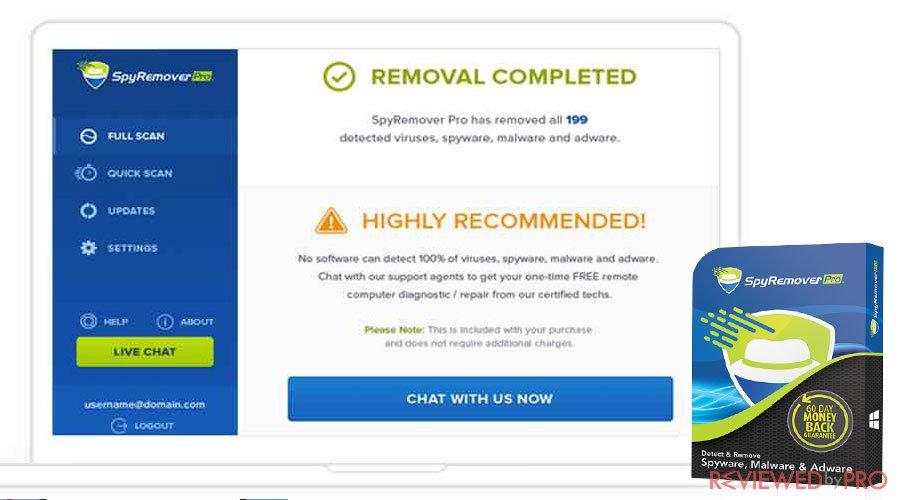 SpyRemover Pro scan completed