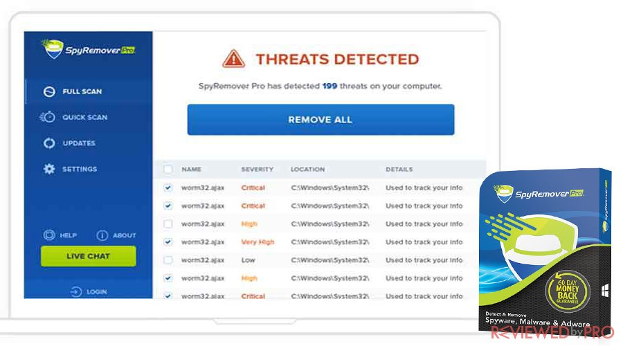 SpyRemover Pro threats detected