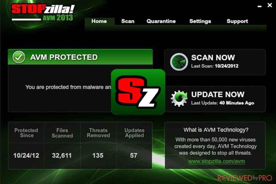 STOPzilla antivirus protection