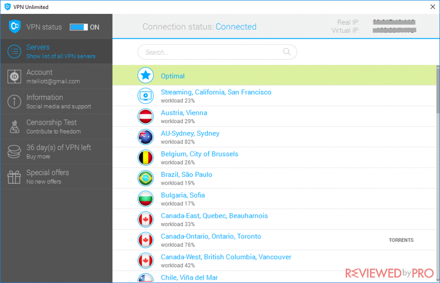 VPN Unlimited User Interface