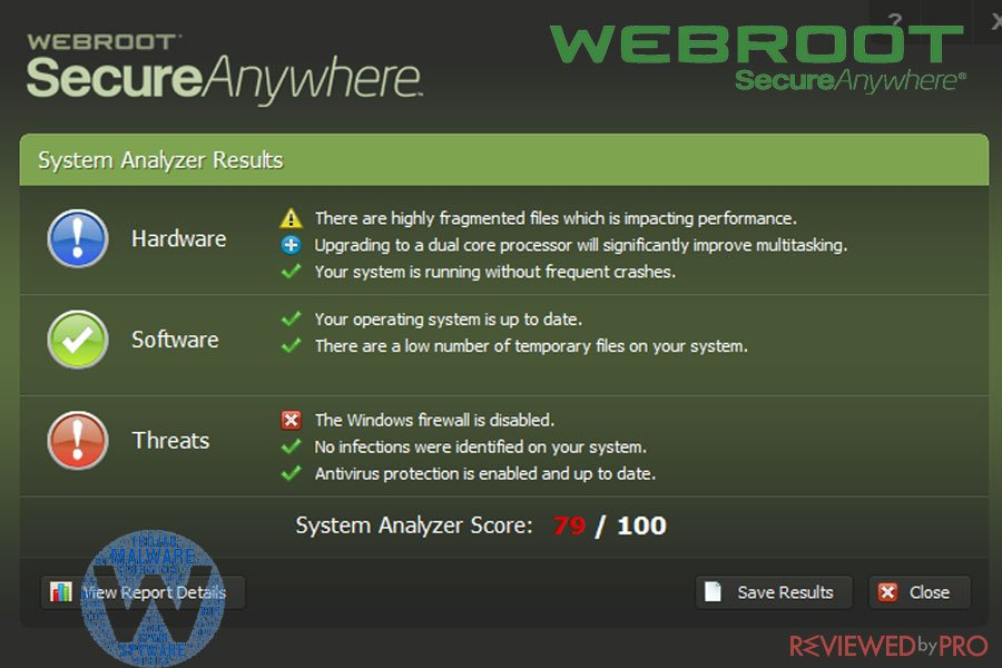 Webroot SecureAnywhere scan results
