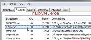 What is the rubyw.exe process and should it be removed?