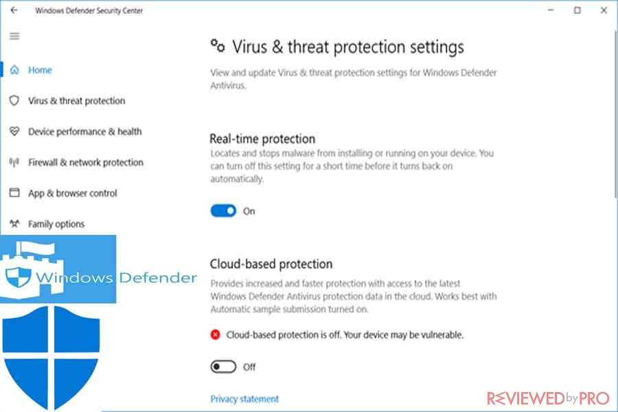 Windows Defender you are protected