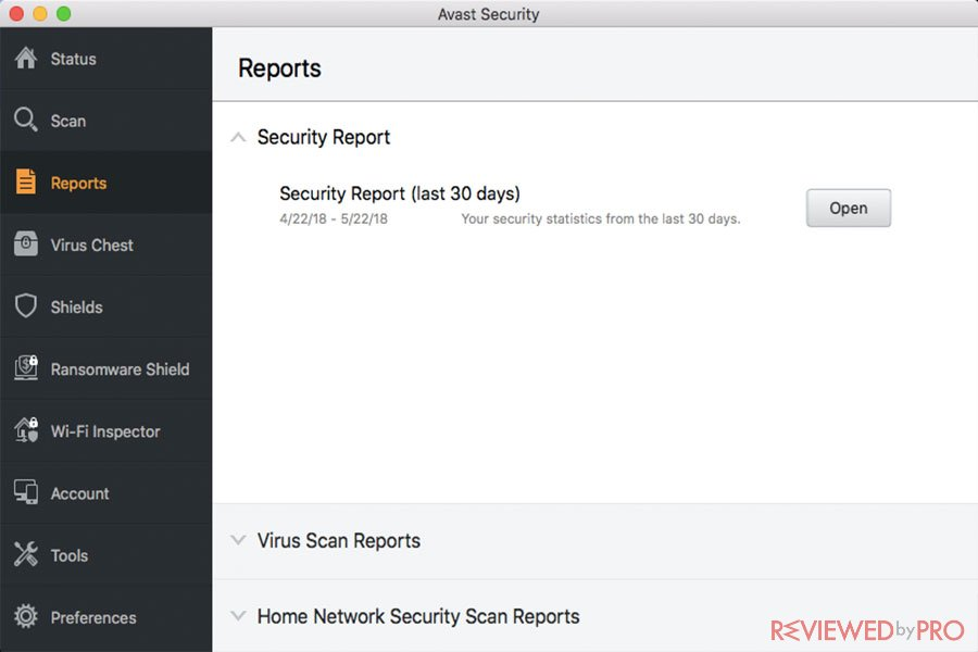 Avast Security for Mac reports