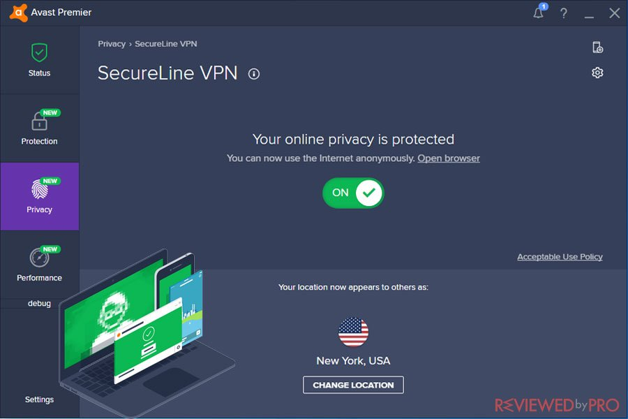 Avast SecureLine VPN Privacy Protected