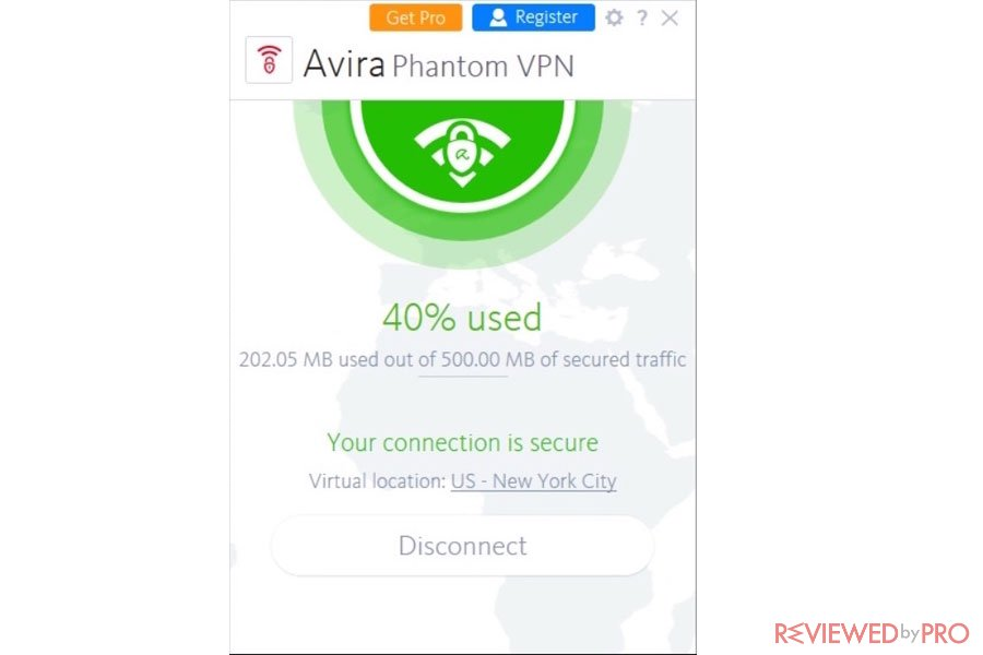Avira Phantom VPN Data Used