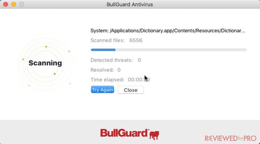 BullGuard Antivirus for Mac Scan
