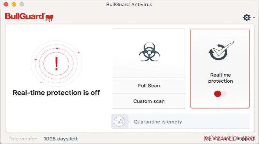 BullGuard Internet protection off for Mac