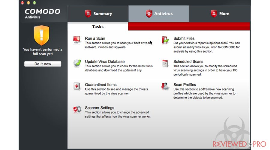 Comodo ANtivirus for Mac Tasks