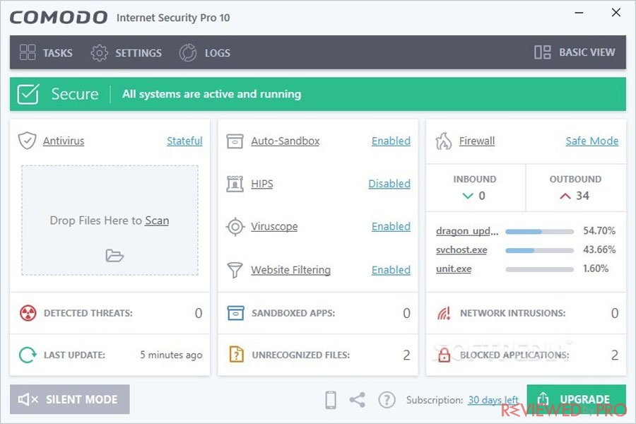 Comodo Internet Security Pro Interface