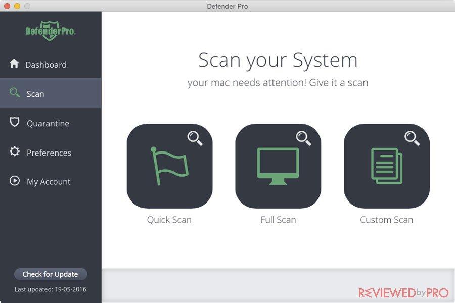 Defender Pro Security for Mac  system scan