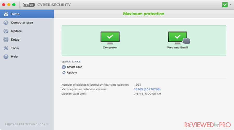 ESET Cyber Security for Mac protected