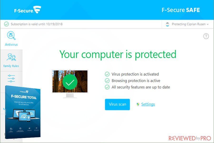F Secure Total computer is protected