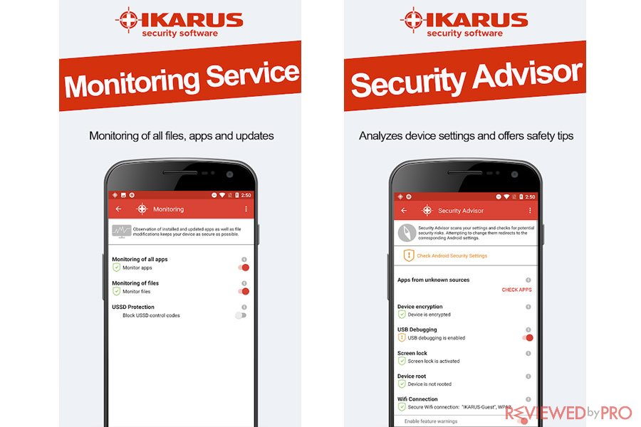 IKARUS mobile.security monitoring service and security advisor for Android