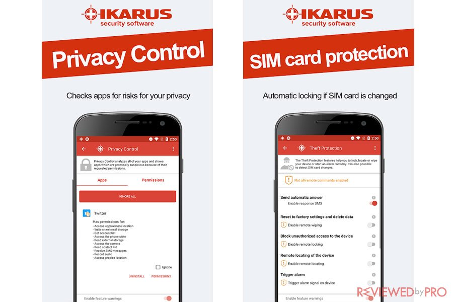 IKARUS mobile.security Android Privacy features