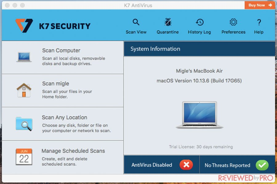 K7 Antivirus for Mac Min Window