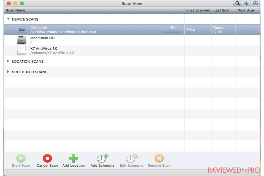 K7 Antivirus for Mac device scan