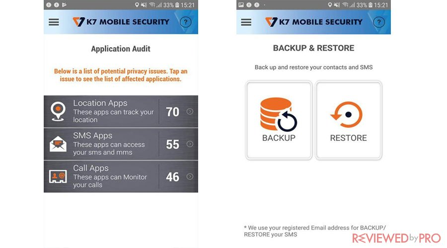 K7 Mobile Security Features
