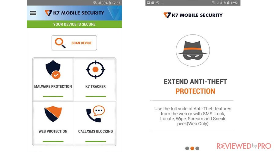 K7 Mobile Security Screenshots