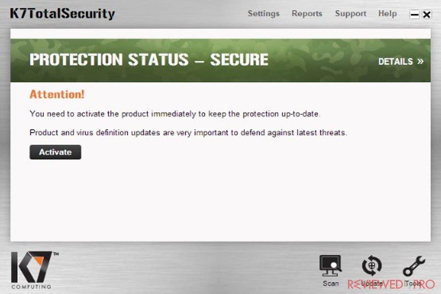 K7 Total Security Status