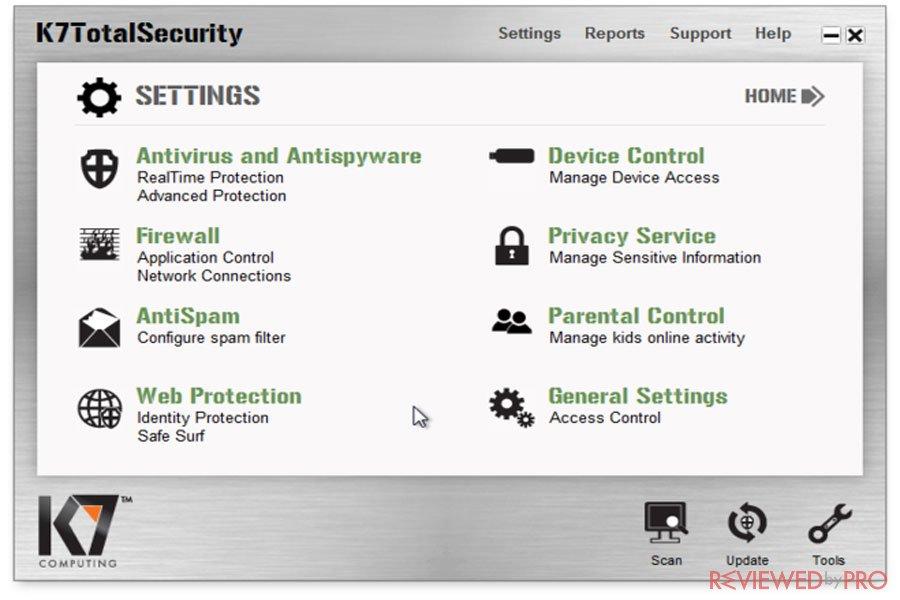 K7 Total Security Settings