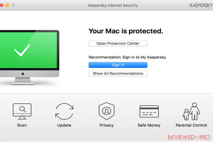 Kaspersky Internet Security for Mac protected