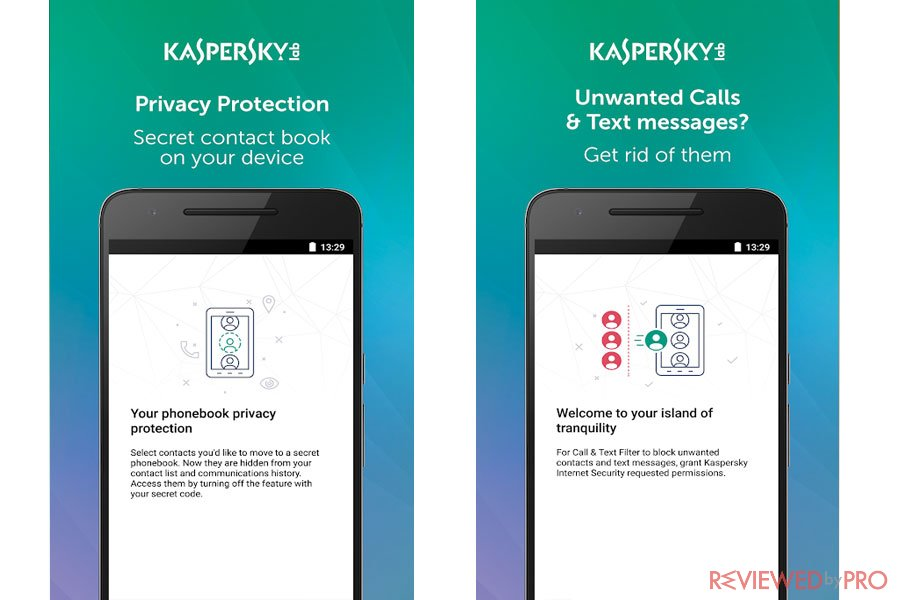 Kaspersky Mobile Privacy features