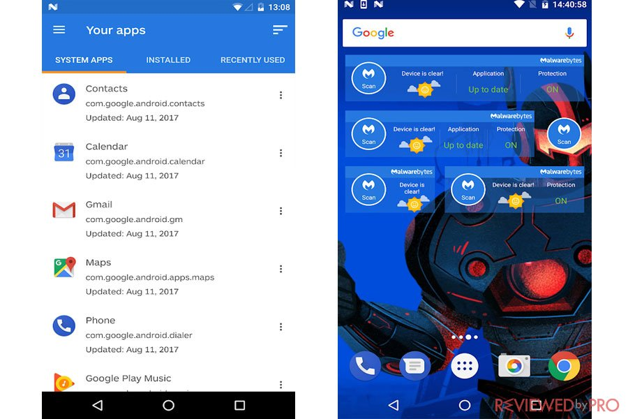 Malwarebytes for android interface